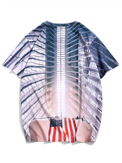 buy American Flag 3D Print Short Sleeve Casual T Shirt - MULTI 2XL Mobile