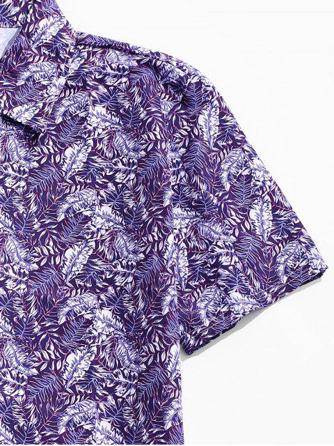 lady Leaf Print Casual Button Up Shirt - PURPLE 2XL Mobile