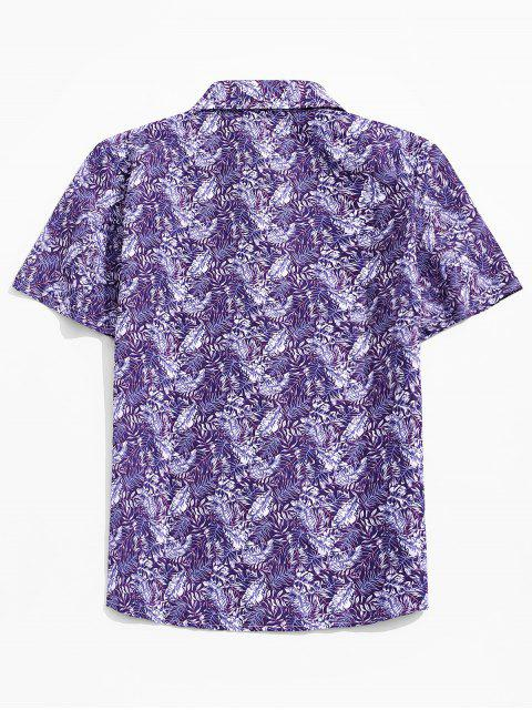 ladies Leaf Print Casual Button Up Shirt - PURPLE XL Mobile