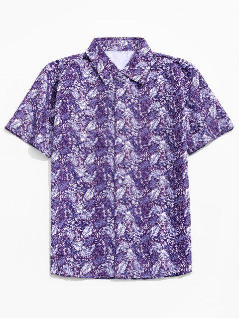 women's Leaf Print Casual Button Up Shirt - PURPLE L Mobile