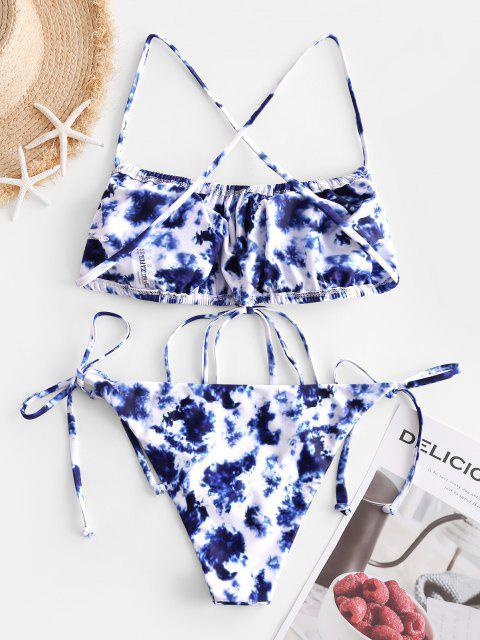 fancy ZAFUL Tie Dye Strappy Tie Bandeau Bikini Swimwear - SILK BLUE L Mobile