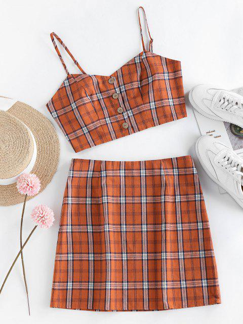 trendy ZAFUL Plaid Button Up Mini Skirt Set - ORANGE XL Mobile