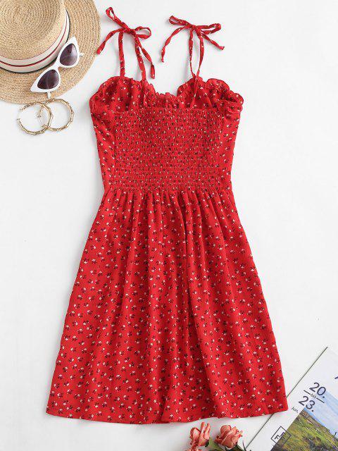 latest Tie Shoulder Ditsy Floral Lettuce Trim Mini Dress - RED M Mobile
