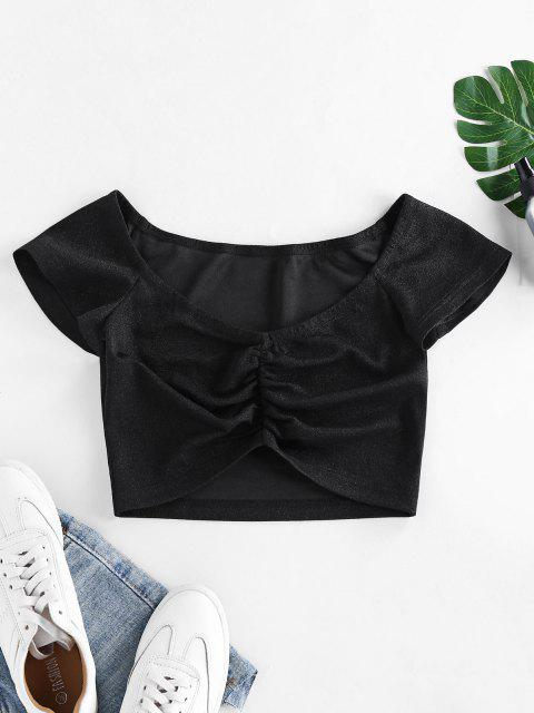 best ZAFUL Ruched Metallic Thread Crop Blouse - BLACK S Mobile