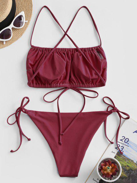 ZAFUL Maillot de Bain Bikini Croisé Noué à Côté à Volants - Rouge Vineux S Mobile