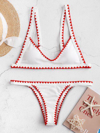 ZAFUL Whip Stitch Trim Ribbed Bikini Swimsuit - White S