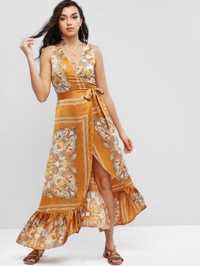 Bohemian Print Wrap Maxi Dress