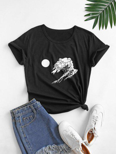 Moon And Wave Graphic Cotton Basic Tee - Black 2xl