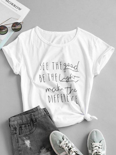 Letter Slogan Graphic Cotton Basic Knot Tee - White 2xl