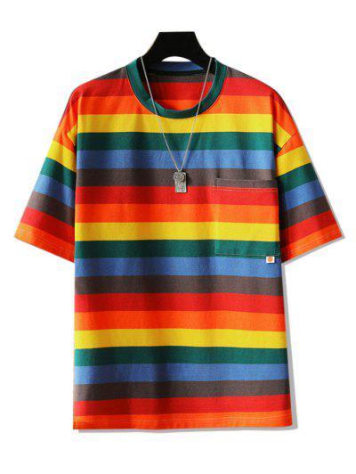 Striped Graphic Pocket Patch T-shirt - Multi-a Xl