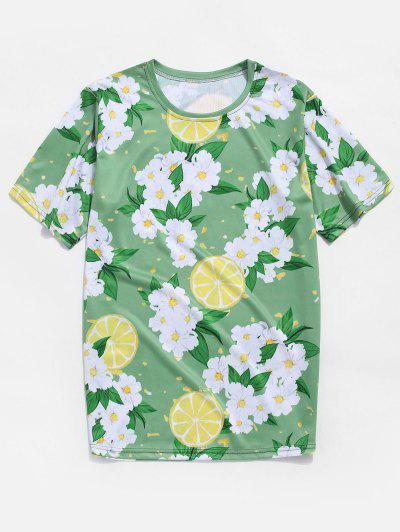 Flower And Lemon Print Vacation T-shirt - Green Onion 3xl