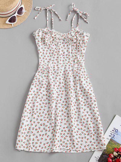 Tie Shoulder Ditsy Floral Lettuce Trim Mini Dress - White M