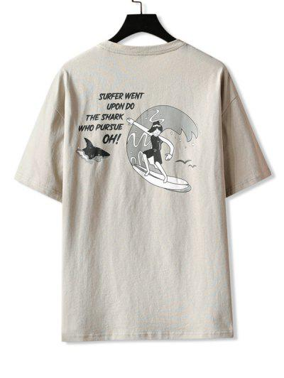 Hawaii Surfing Graphic Basic T-shirt - Apricot 2xl