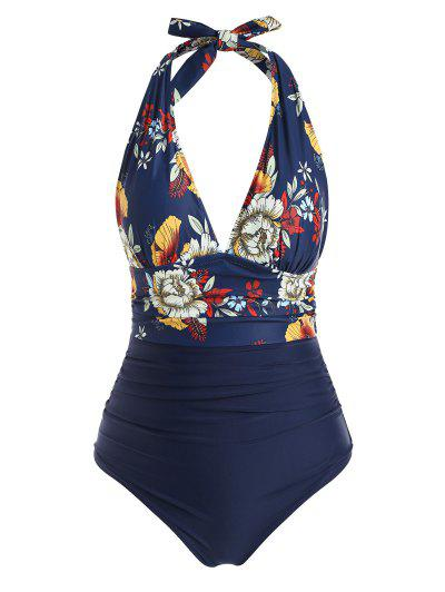 Floral Ruched Plus Size One piece Swimsuit