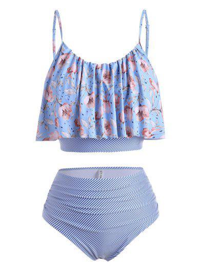 ZAFUL Plus Size Striped Floral Ruched Tankini Swimwear - Multi-a 3x
