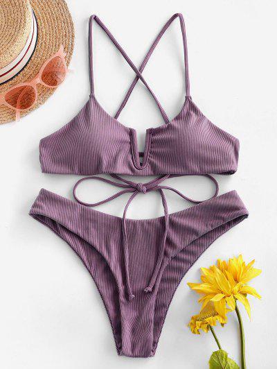 ZAFUL Ribbed V Wired Criss Cross High Leg Bikini Swimsuit - Plum Velvet S