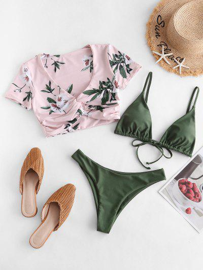 ZAFUL Twist Floral Three Piece Swimsuit - Grayish Turquoise S