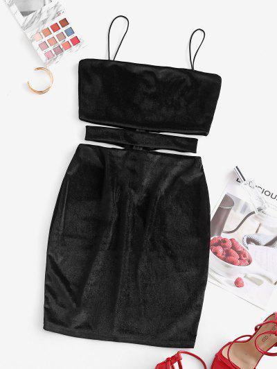 Velvet Cutout Mini Bodycon Dress - Black Xl