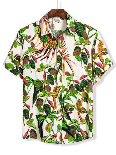Leaves Print Lounge Button Up Shirt - Multi 3xl
