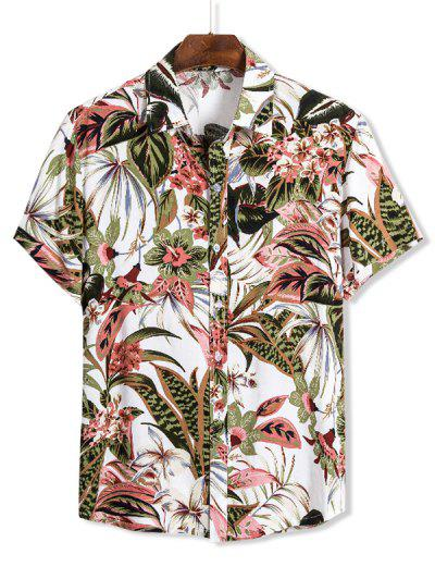 Floral Leaves Print Hawaii Button Up Shirt - Multi 2xl