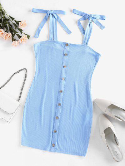 ZAFUL Ribbed Tie Shoulder Bodycon Dress - Day Sky Blue S