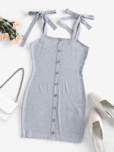 ZAFUL Ribbed Tie Shoulder Bodycon Dress - Gray Cloud S
