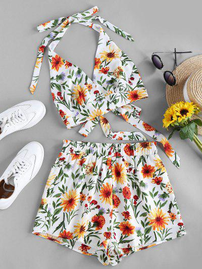 ZAFUL Halter Tie Back Floral Two Piece Set - White M