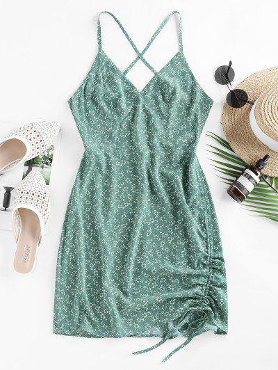 ZAFUL Ditsy Floral Criss Cross Cinched Tie Dress - Light Green S