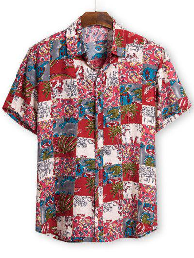 Ethnic Palm Tree Pattern Button Up Tee - Red 2xl
