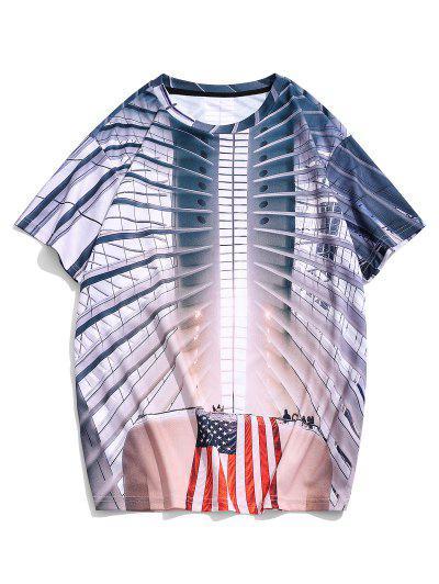 American Flag 3D Print Short Sleeve Casual T Shirt - Multi 2xl