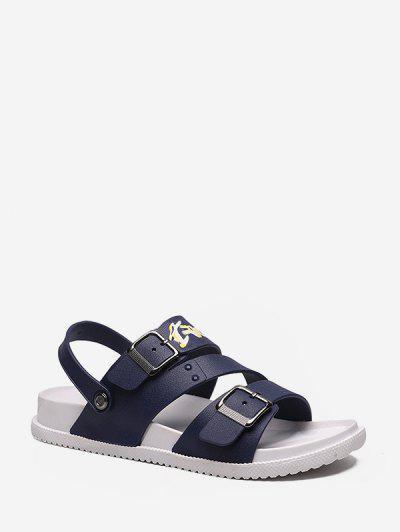 Zapatos Esmaltados Abrochados De Letras Gráficas - Azul Profundo Eu 40