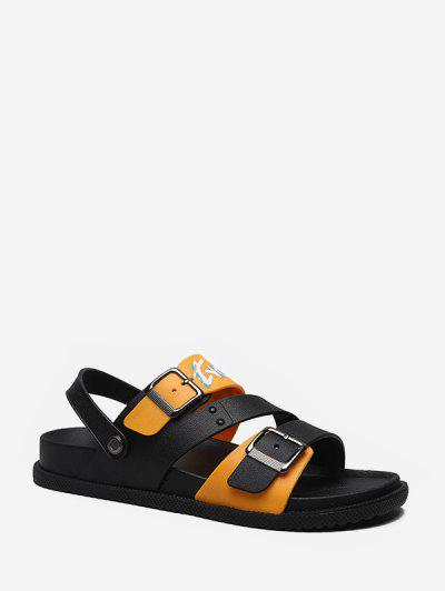 Letter Graphic Buckled Gladiator Open Toe Shoes - Orange Eu 40