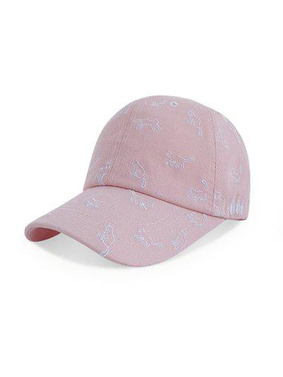 Cats Pattern Embroidery Baseball Cap - Pink