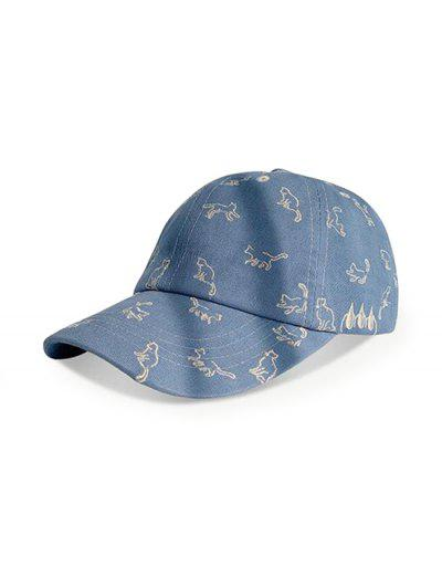Cats Pattern Embroidery Baseball Cap - Mist Blue