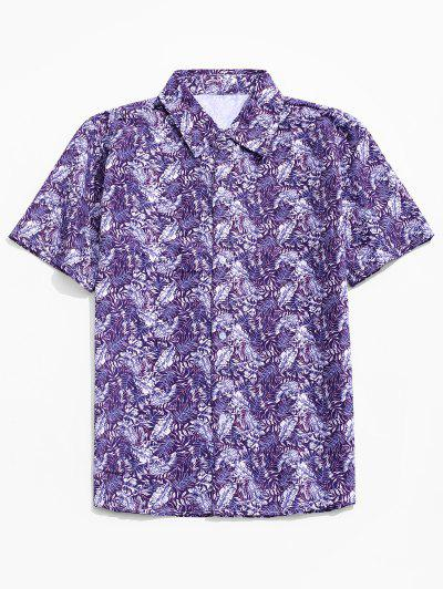 Camisa Casual Estampado Hoja Botón - Púrpura M