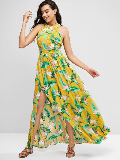 ZAFUL Floral Leaves Cutout Slit Maxi Dress - Sun Yellow S