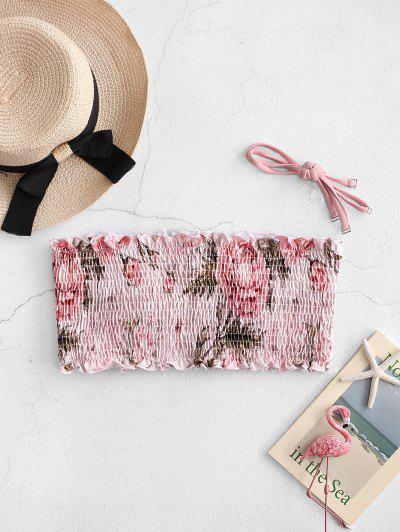 ZAFUL Frilled Floral Smocked Bikini Top - Pig Pink L