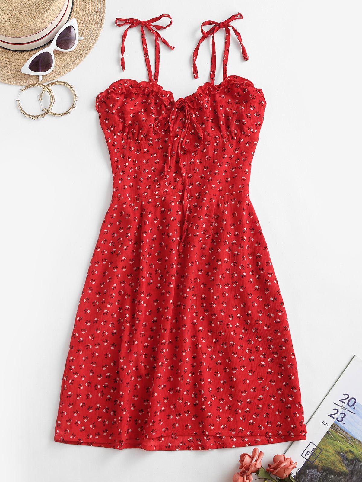 Tie Shoulder Ditsy Floral Lettuce Trim Mini Dress