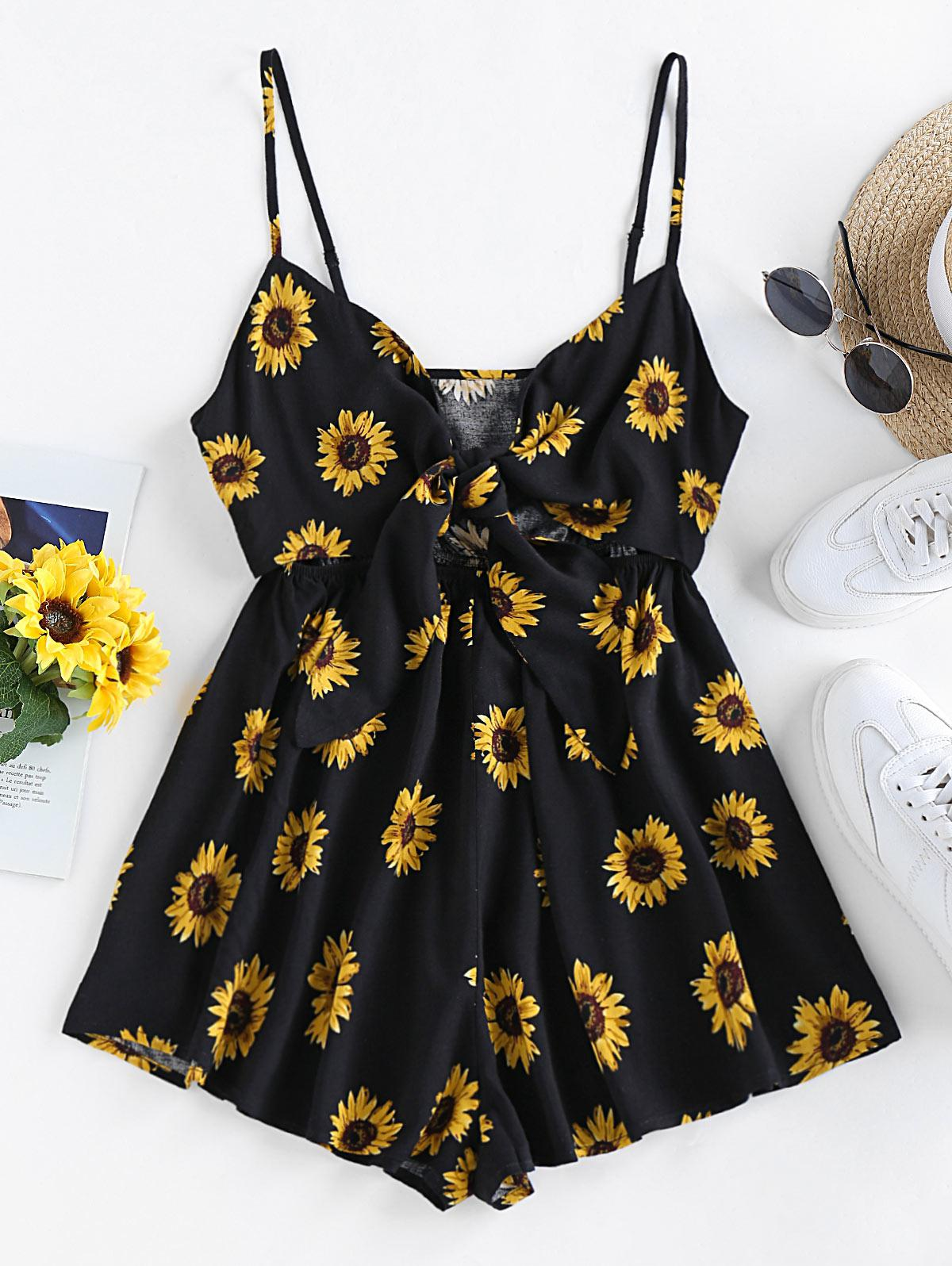 ZAFUL Sunflower Tie Knot Loose Romper