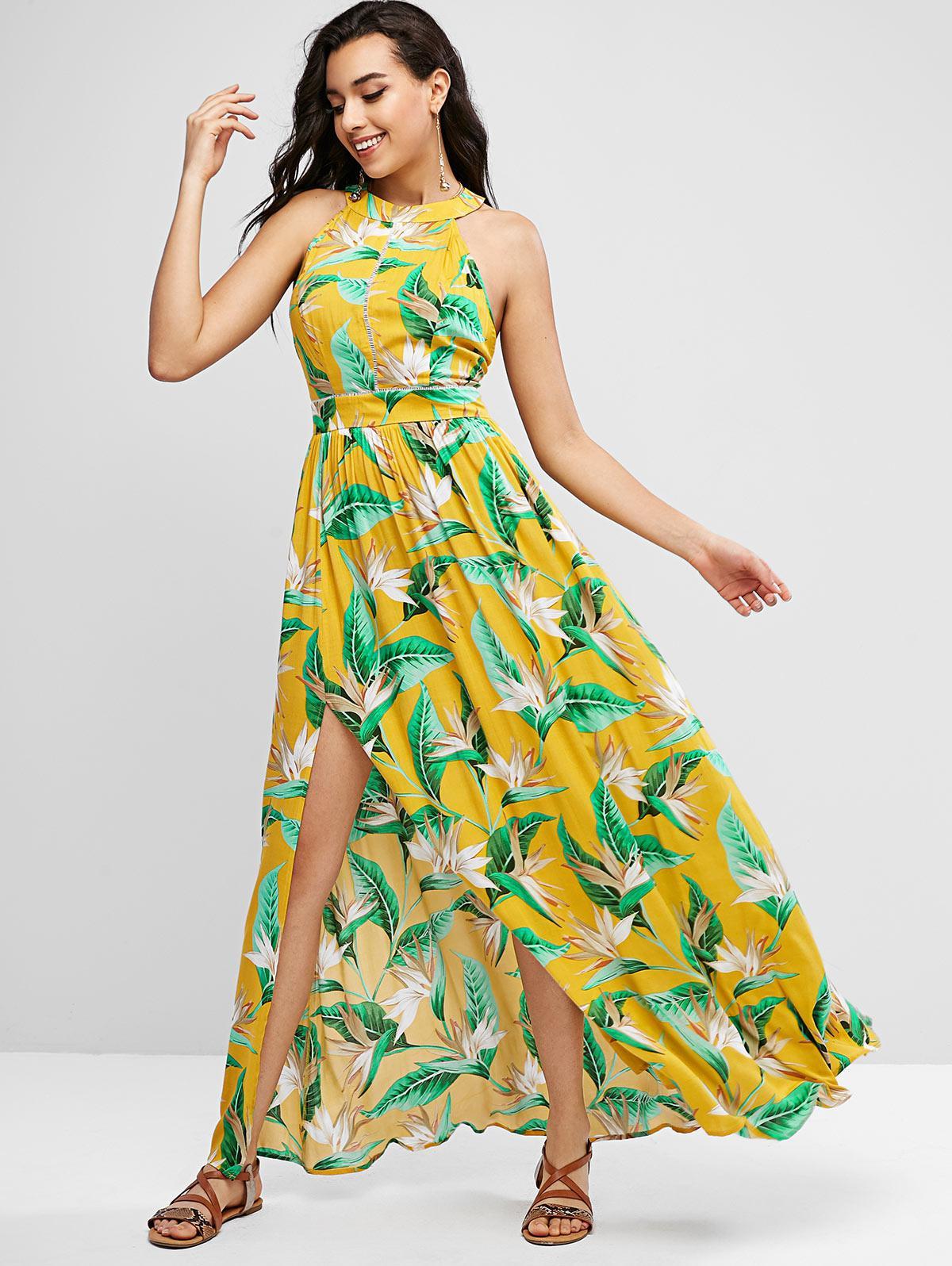 ZAFUL Floral Leaves Cutout Slit Maxi Dress