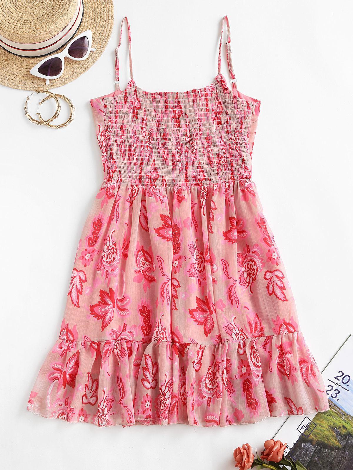 Floral Smocked Back Cami Mini Dress thumbnail