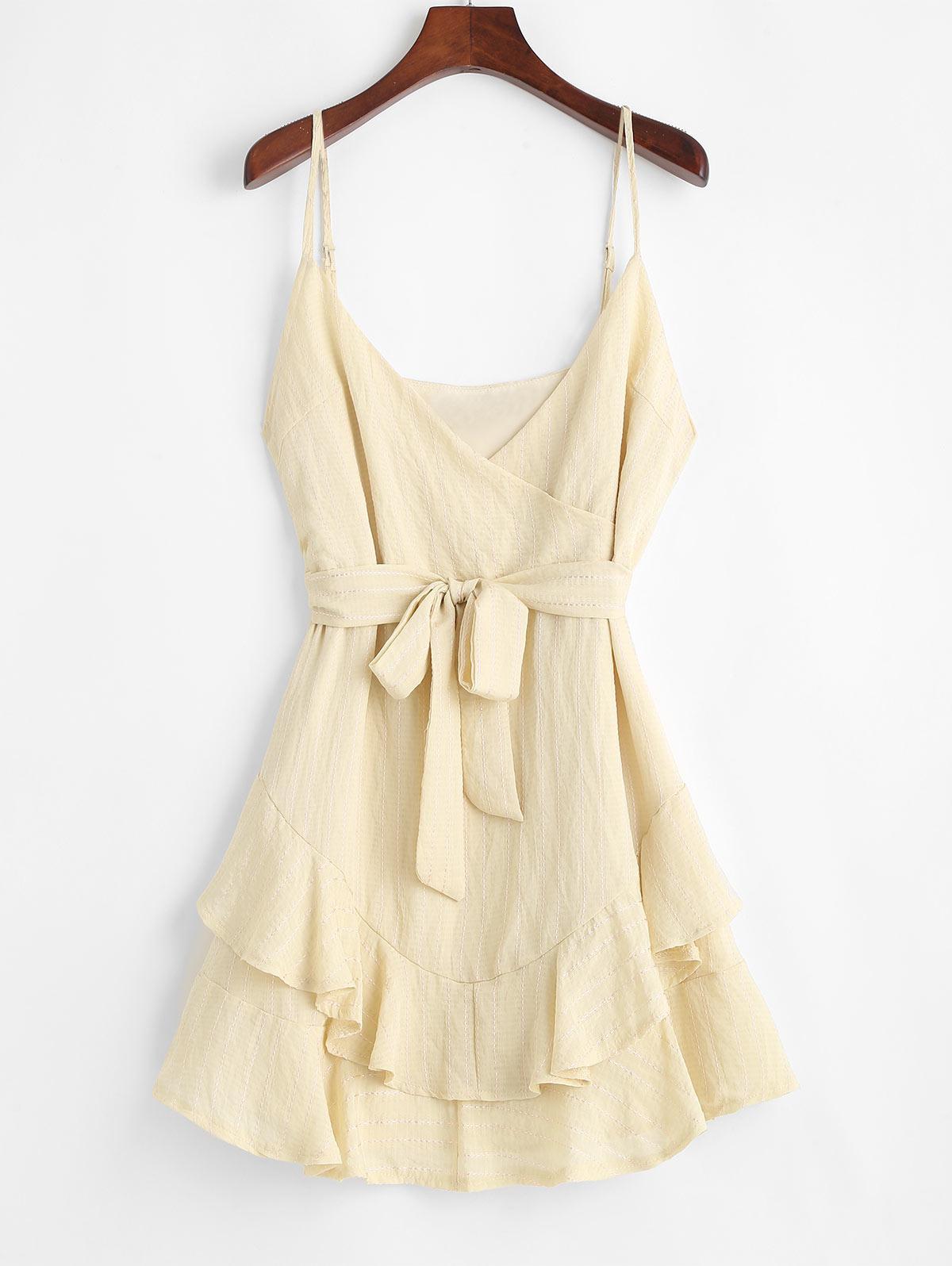Contrast Stitching Belted Ruffles Mini Dress