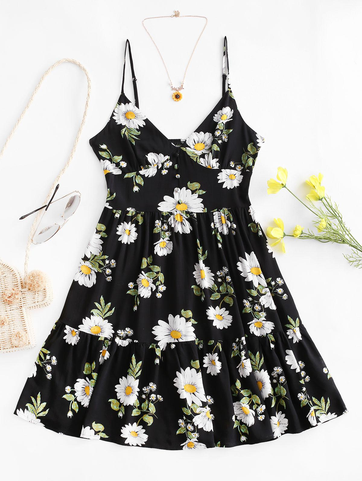 ZAFUL Flower Smocked Mock Button Flippy Hem Dress thumbnail
