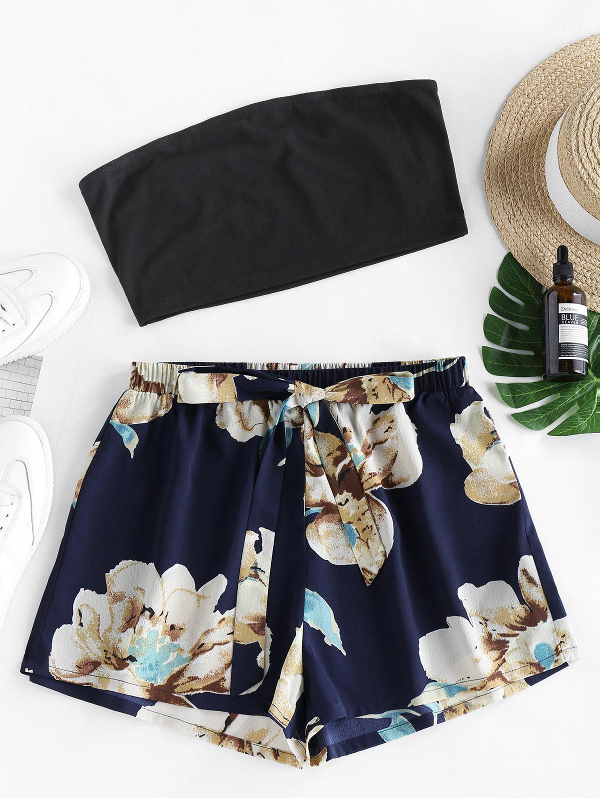 ZAFUL Flower Bandeau Knotted Two Piece Set