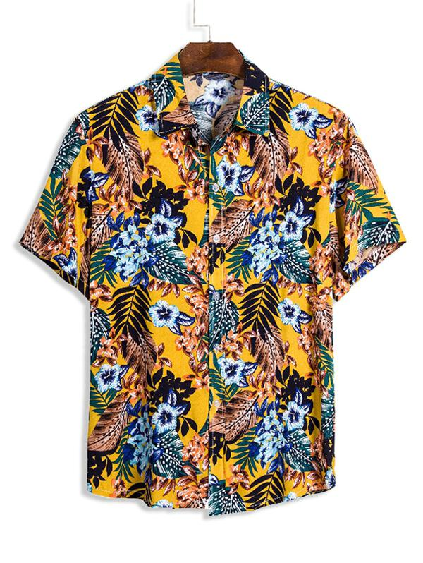 Beach Ditsy Floral Leaf Pattern Button Up Shirt thumbnail