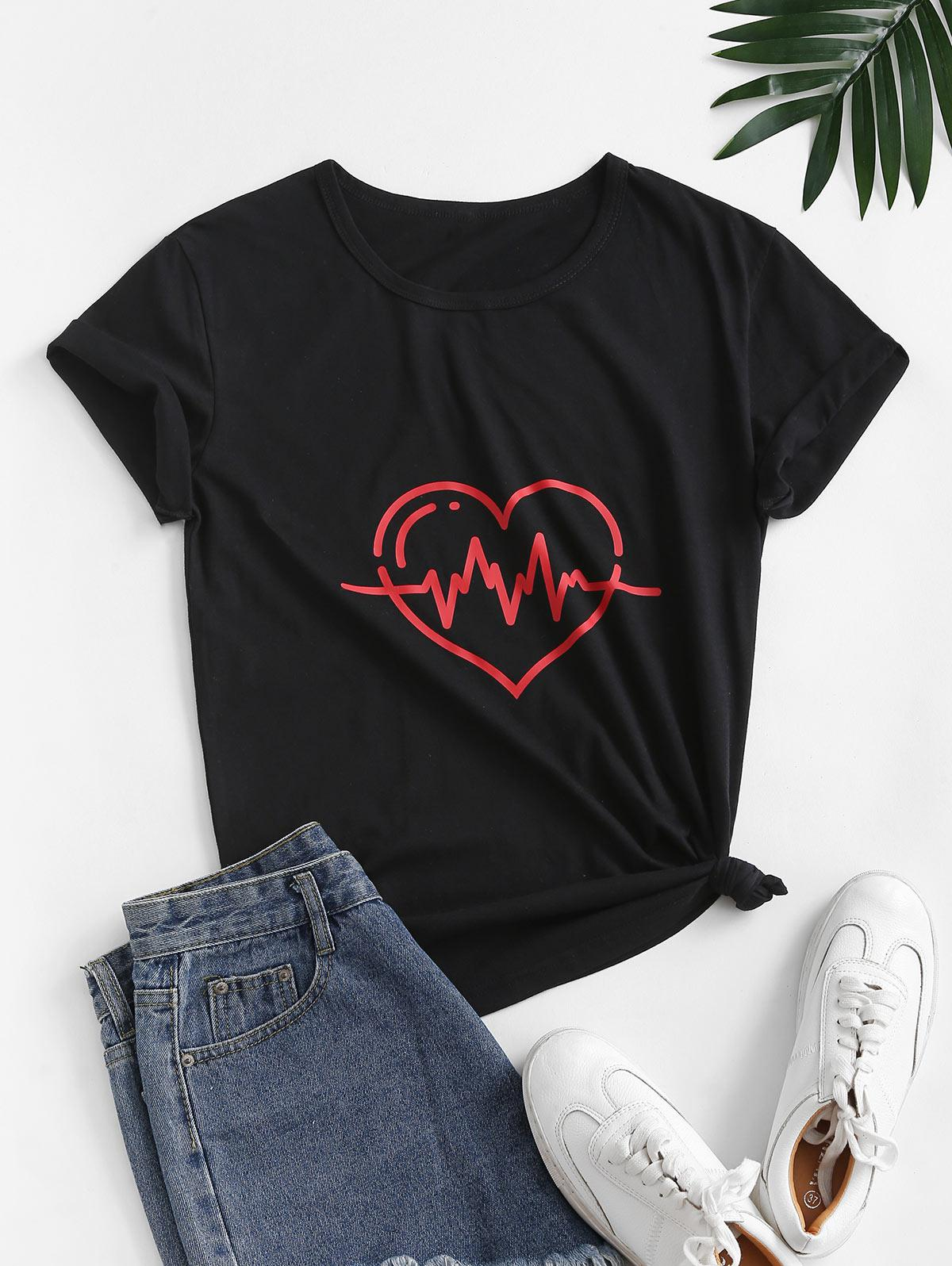 Heart Graphic Cotton Basic Casual Tee