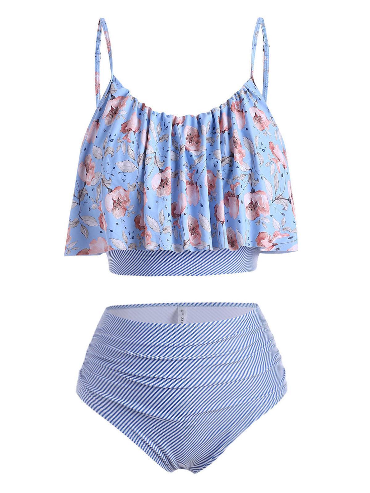 ZAFUL Plus Size Striped Floral Ruched Tankini Swimwear