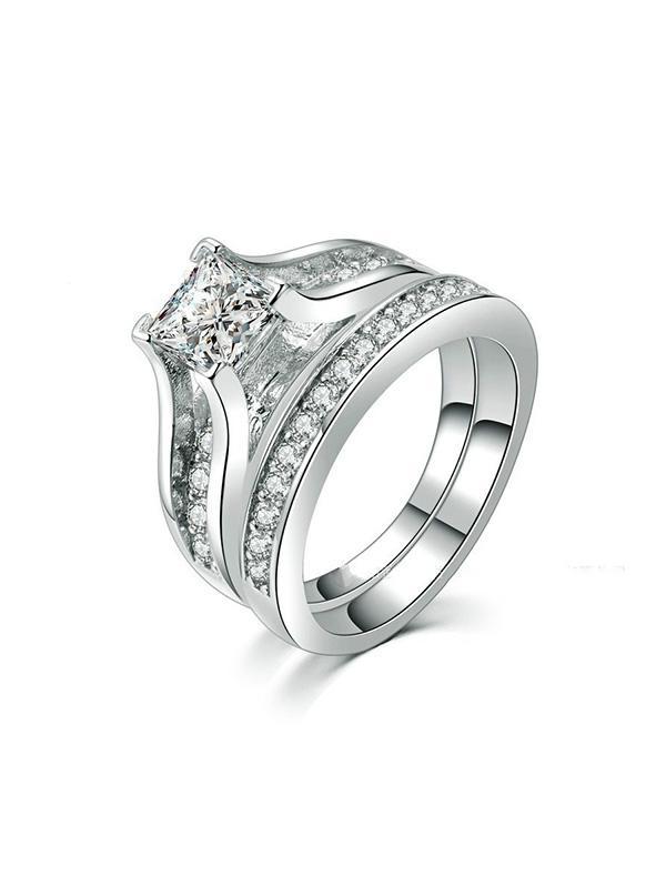 2Pcs Rhinestone Wedding Ring Set