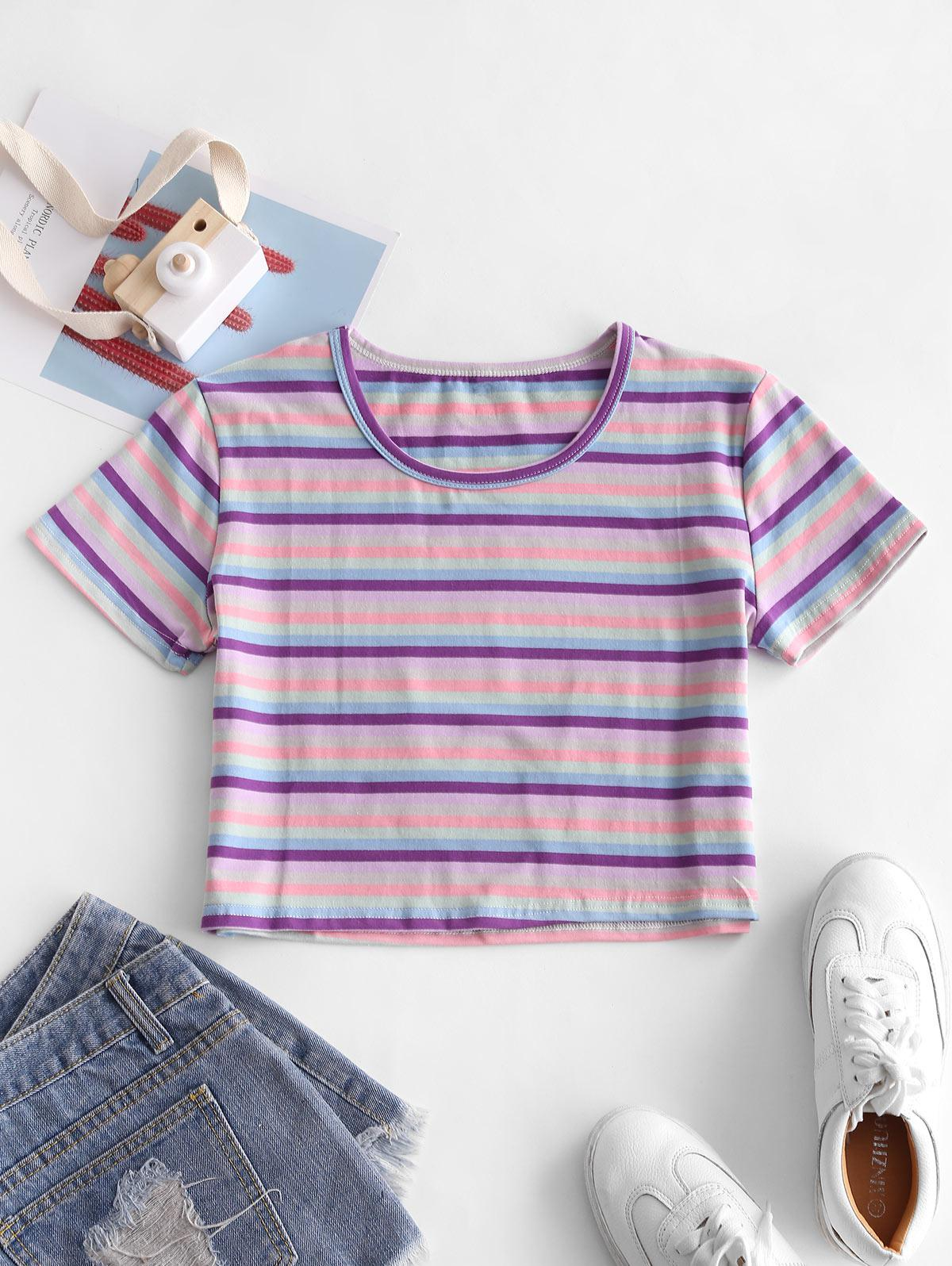 Cropped Colorful Striped Tee