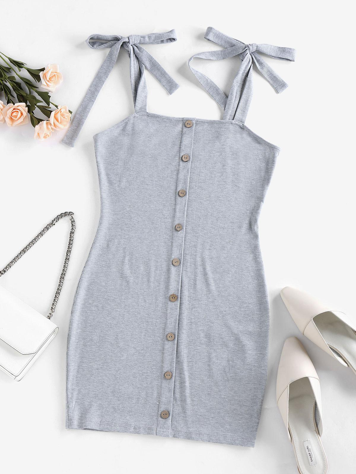 ZAFUL Ribbed Tie Shoulder Bodycon Dress